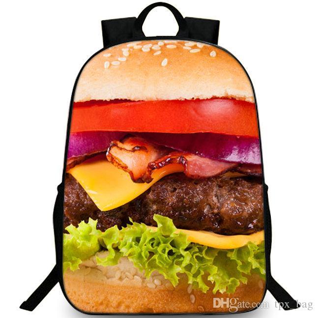 Гамбургер рюкзак мясо сэндвич рюкзак Бургер питание школьный досуг рюкзак Спорт школьная сумка Открытый день пакет