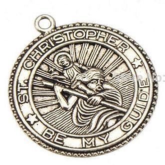 Charms melek dinler antik gümüş St christopher benim rehberim metal yuvarlak yeni diy moda takı aksesuarları bilezikler 34 * 30mm 50 adet