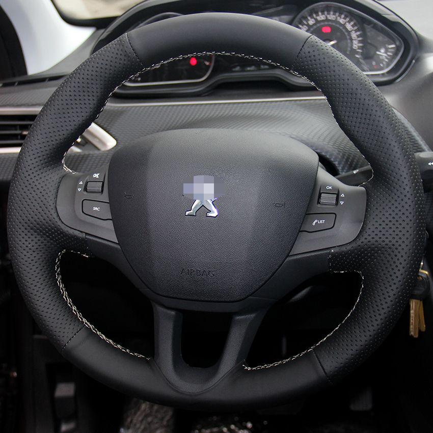 حالة لبيجو 2008 2014 يغطي عجلة القيادة جلد طبيعي diy تصفيف السيارة غطاء العجلة اليد الخياطة الجلود يغطي السيارة