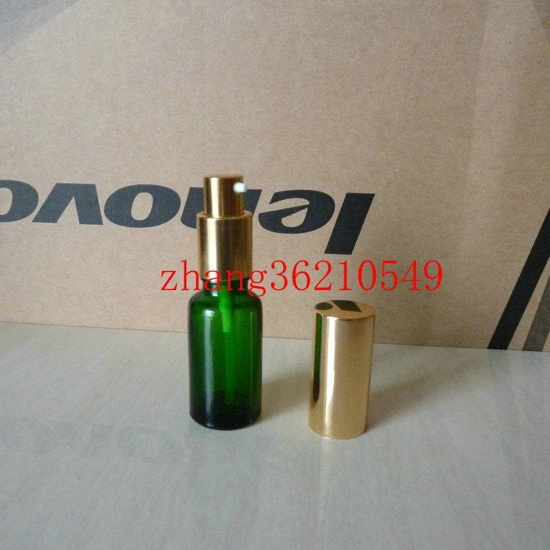 20ml 녹색 유리 로션 병 알루미늄 반짝 이는 골드 pump.for 로션과 에센셜 오일. 로션 크림 유리 용기