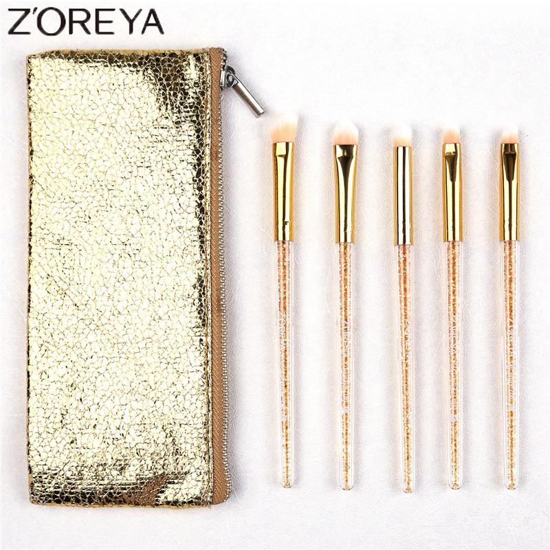 Zoreya Brand 5pcs Concealer Gold Crystal Make Up Brush Set Beauty Eyeshadow Blending Foundation Face Makeup Brushes Cosmetic Kit