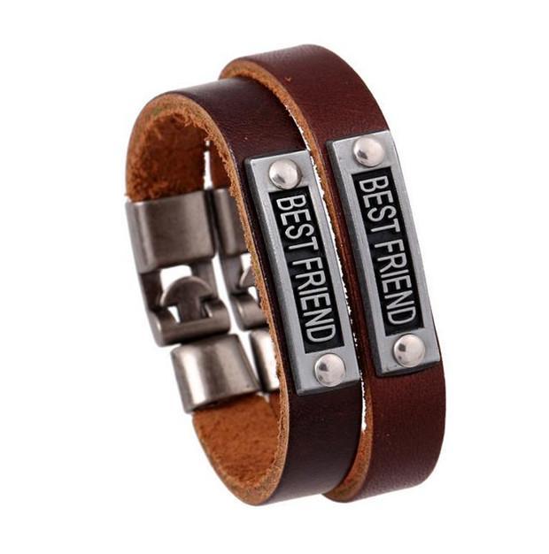 Старинные мужские женщины любовник браслеты письмо лучший друг кожаные браслеты Friendshiop браслеты хорошие ювелирные изделия Европа мода Y097