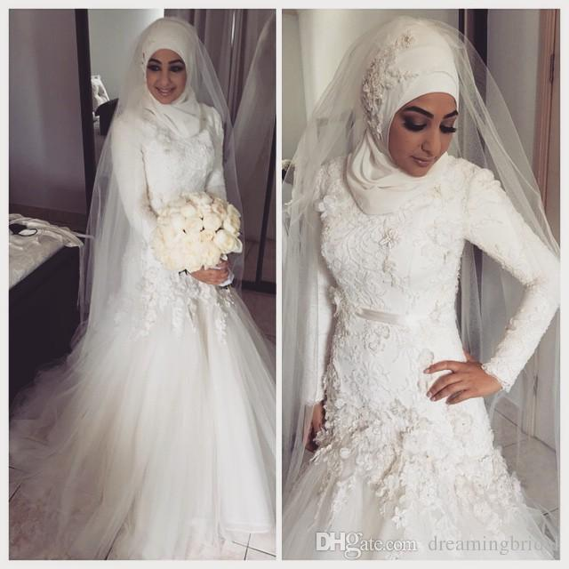 Mermaid Muslim Wedding Dresses 2017 Dropped Waist Lace Appliques Bodice Long Sleeves Dubai Arabian Bridal Dresses Wedding Gown Plus Size