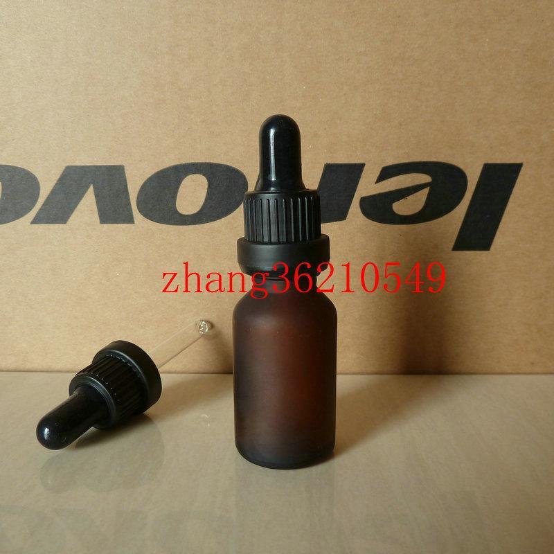 갈색 / 호박색 젖빛 유리 에센셜 오일 병 15 ml 검은 플라스틱 도난 방지 dropper cap.Oil 유리 병, 에센셜 오일 포장