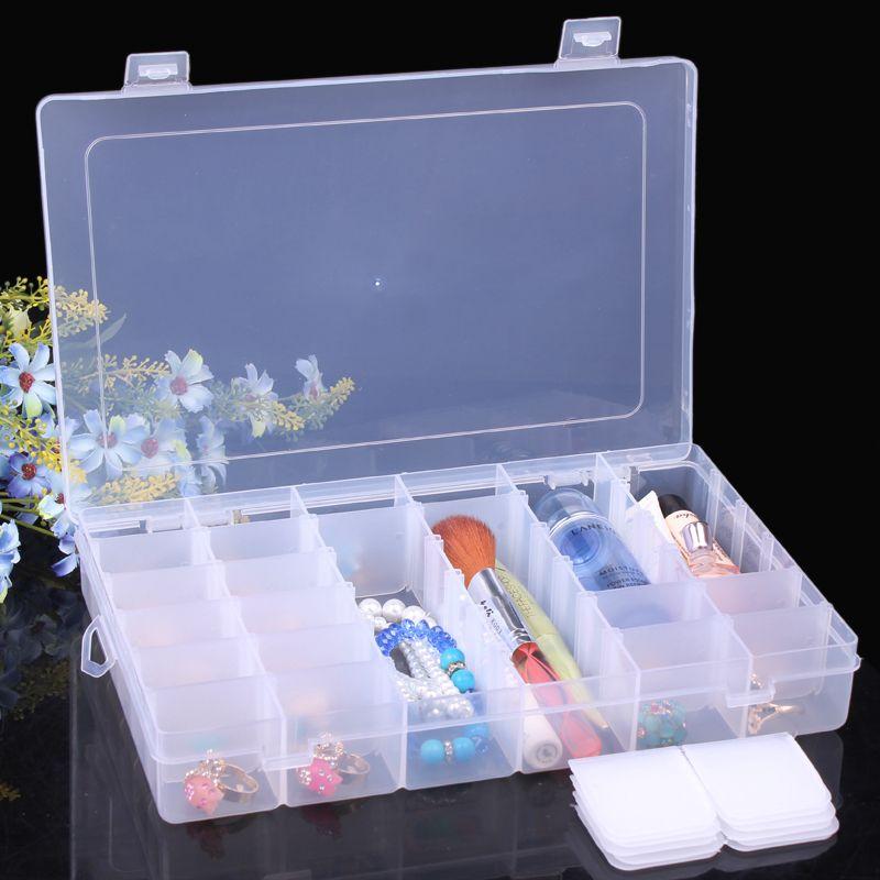 Chiaro plastica perline orecchino gioielli scatole di imballaggio unghie artistiche strumento cosmetico caso di stoccaggio contenitore scomparti regolabili