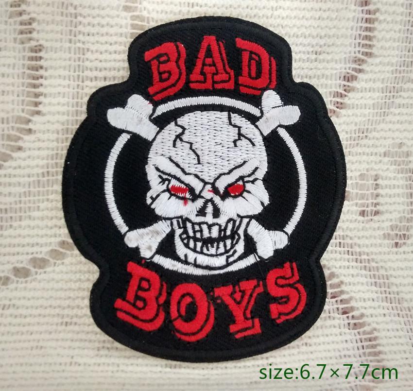 배드 보이 스컬 crossbones logo 오토바이 바이커 재킷에 자수 패치 셔츠 셔츠 바지 코트 베스트 조끼