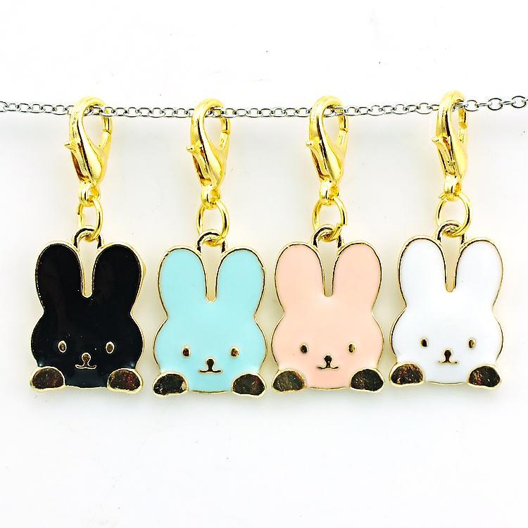 Brand New Fashion Charms galleggianti Lega aragosta Catenaccio 3 colori Coniglio Animali Charms Accessori gioielli fai da te
