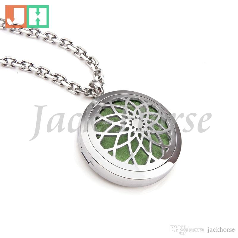 Aromatherapy Essential Oil Diffuser Necklace Jewelry Elegant Hypo-Allergenic 316L Surgical Grade Stainless Steel Locket Pendant Necklace