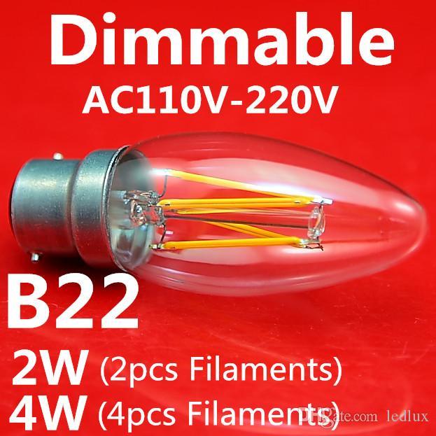 Ny ankomst LED-glödlampor 10 st / parti E14 2W 4W Candle Shape Tail Shape AC110V / 220V Builb-i konstant ström 2700k LED-lampor