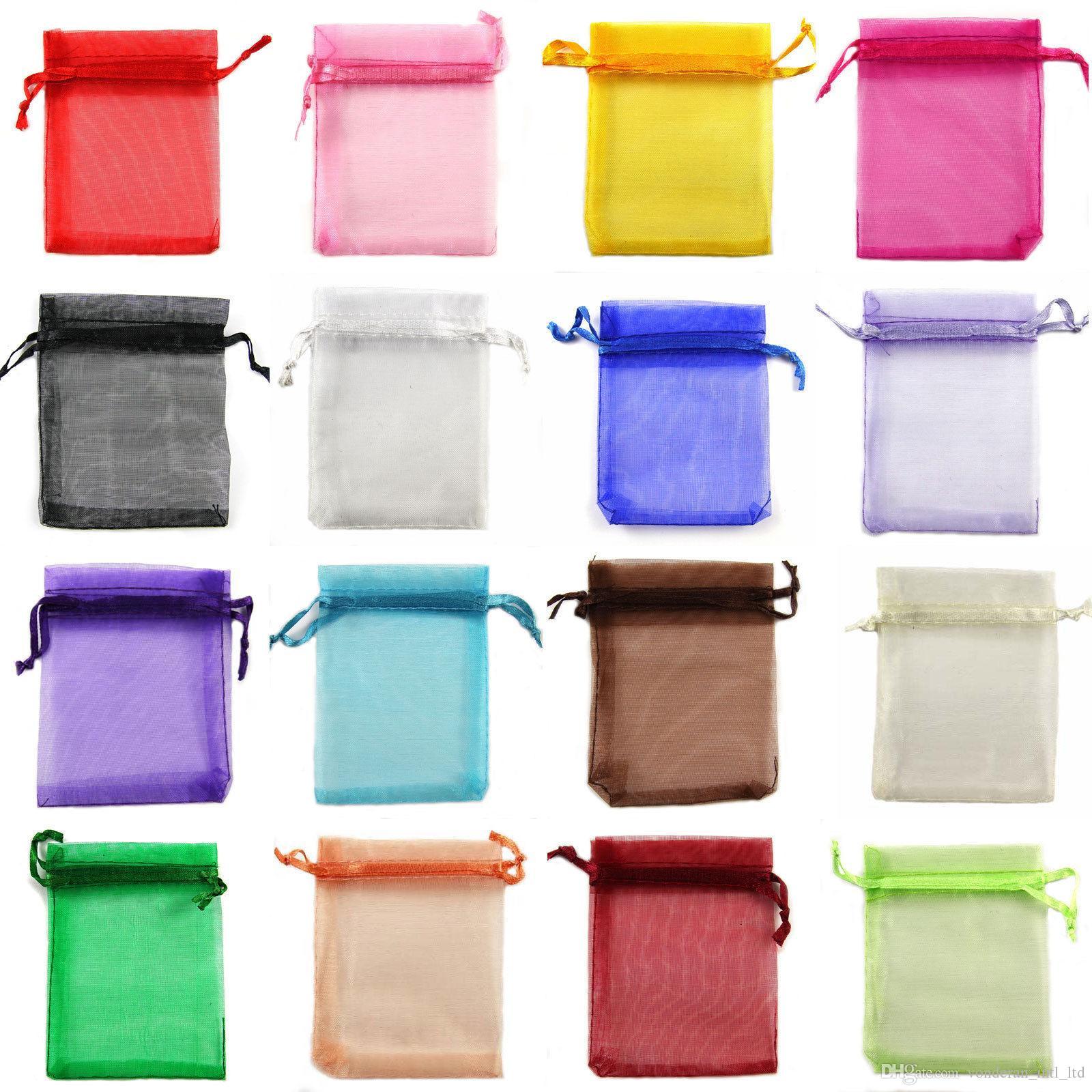 5 * 7 7 * 9 9 * 12 13 * 18 15 * 20 cm Bolsas de Organza con cordón Bolsa de regalo Bolsa de regalo Bolsa de joyería Bolsa de organza Bolsas de caramelo paquete de bolsa color de mezcla