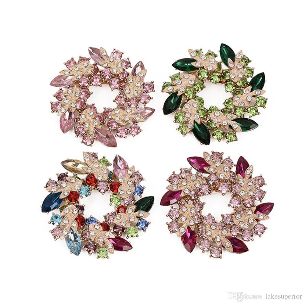 Kadınlar Kızlar Kristal Erguvan Çiçek Broş Çelenk Yapay elmas Suit Yaka Pin Korsaj Takı Aksesuar 5.2cm Ücretsiz Kargo