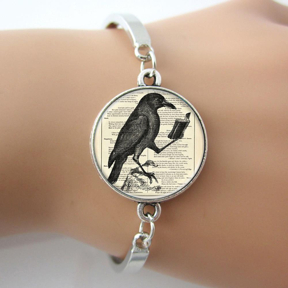 Raven Bracelet,Raven Read Book Vintage Picture Art Bangle For Men,Animal Jewelry Fashion Design For Gifts