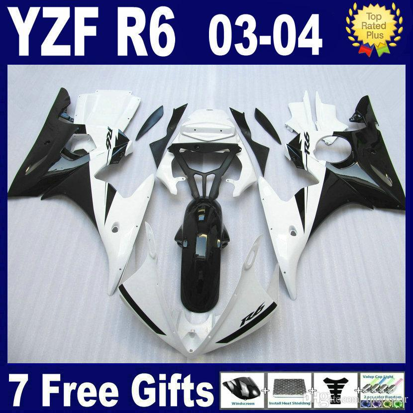 Carenatura in ABS bianco nero per YAMAHA R6 2003 2004 2005 carenature YZFR6 03 04 05 kit carenatura completa + omaggio