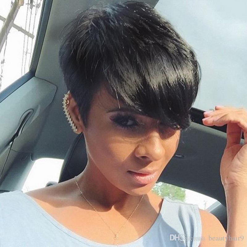 Yeni sıcak satış kısa düz peruk simülasyon İnsan saç kısa kesim stokta kadınlar için düz peruk