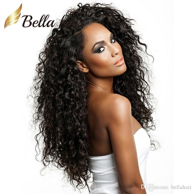 Бесклеевые бразильские Виргинские парики человеческих волос для чернокожих женщин фронта шнурок Надувных завитых париков волос 100% Natural Human Hair Bellahair