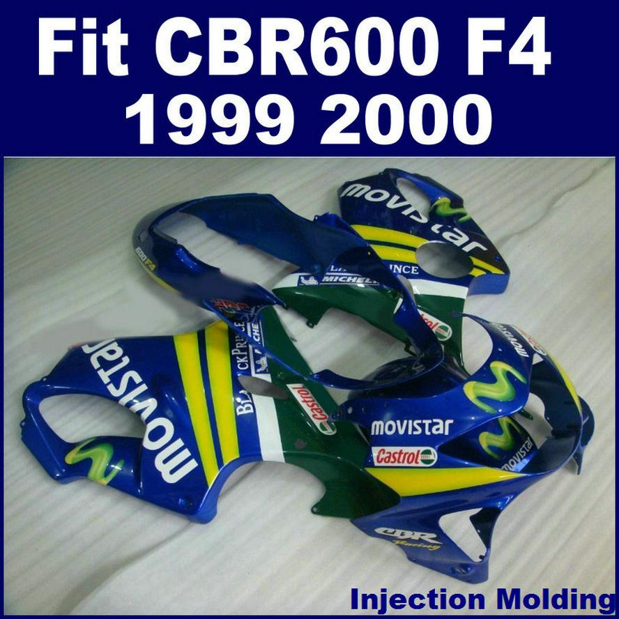 Injection molding fairing kit for HONDA CBR 600 F4 1999 2000 blue 99 00 CBR600 F4 fairing sets BVFG