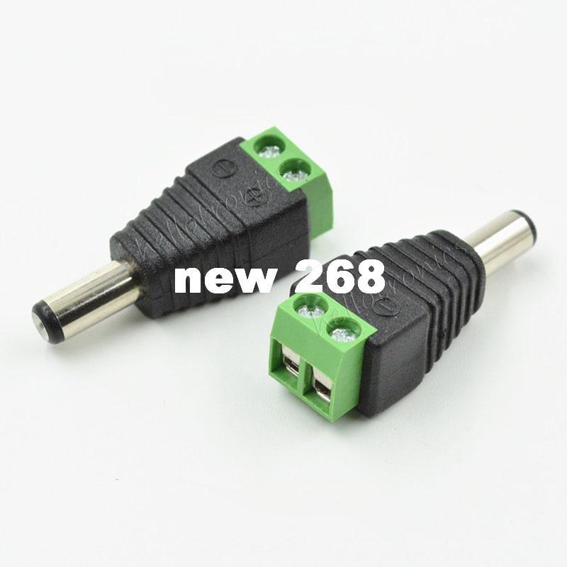 Adattatore di corrente continua maschio all'ingrosso 500 pz / lotto - 2.1mm Adattatore jack maschio a spina CC a spina a vite