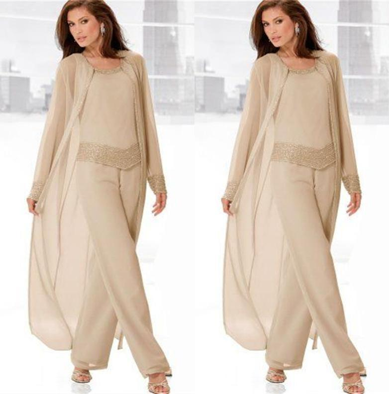Chiffon Three-Pieces Mother of the Bride Pant Suits with Jackets ...