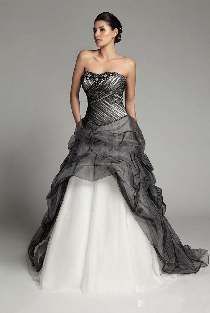 Vestidos de novia elegantes blancos y negros con abalorios acanalados una línea vestido de noiva Vestidos de novia plisados de talla grande de alta calidad