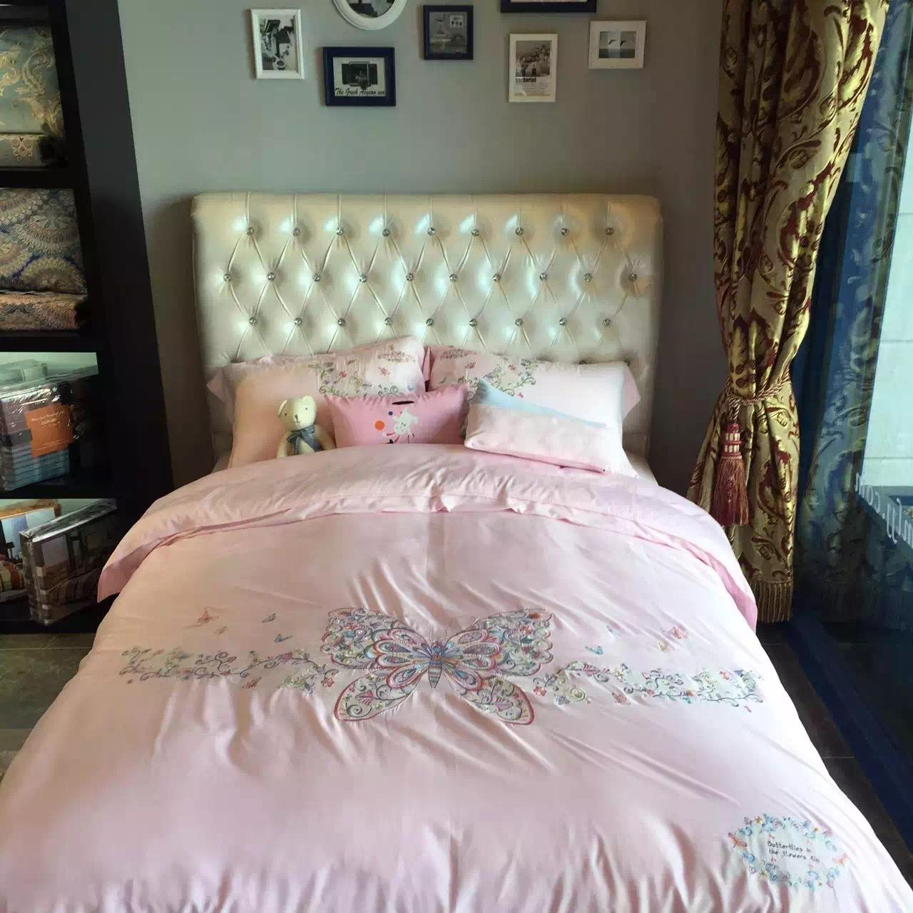 Best Sale Fine Butterfly Embroidery Bedding Sets High Quality Seaisland  Cotton Beddings Romantic Pink Bed Linen ...