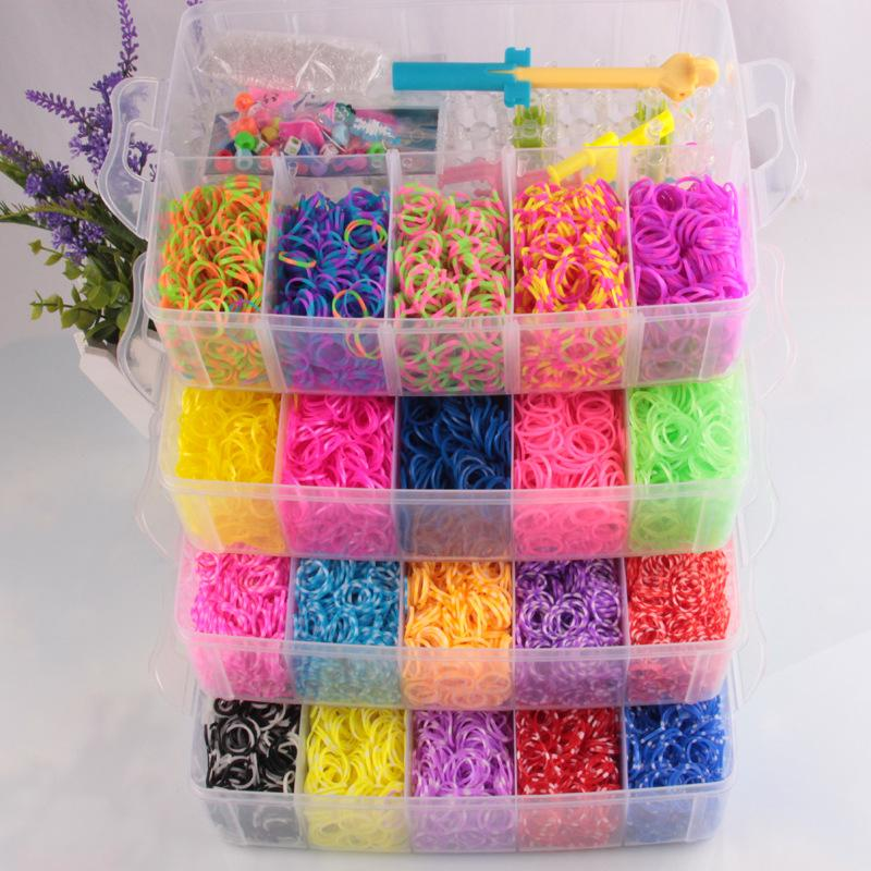 stock hands elastic rubber girls loom colorful photo rings image bracelet band rainbow bracelets bands