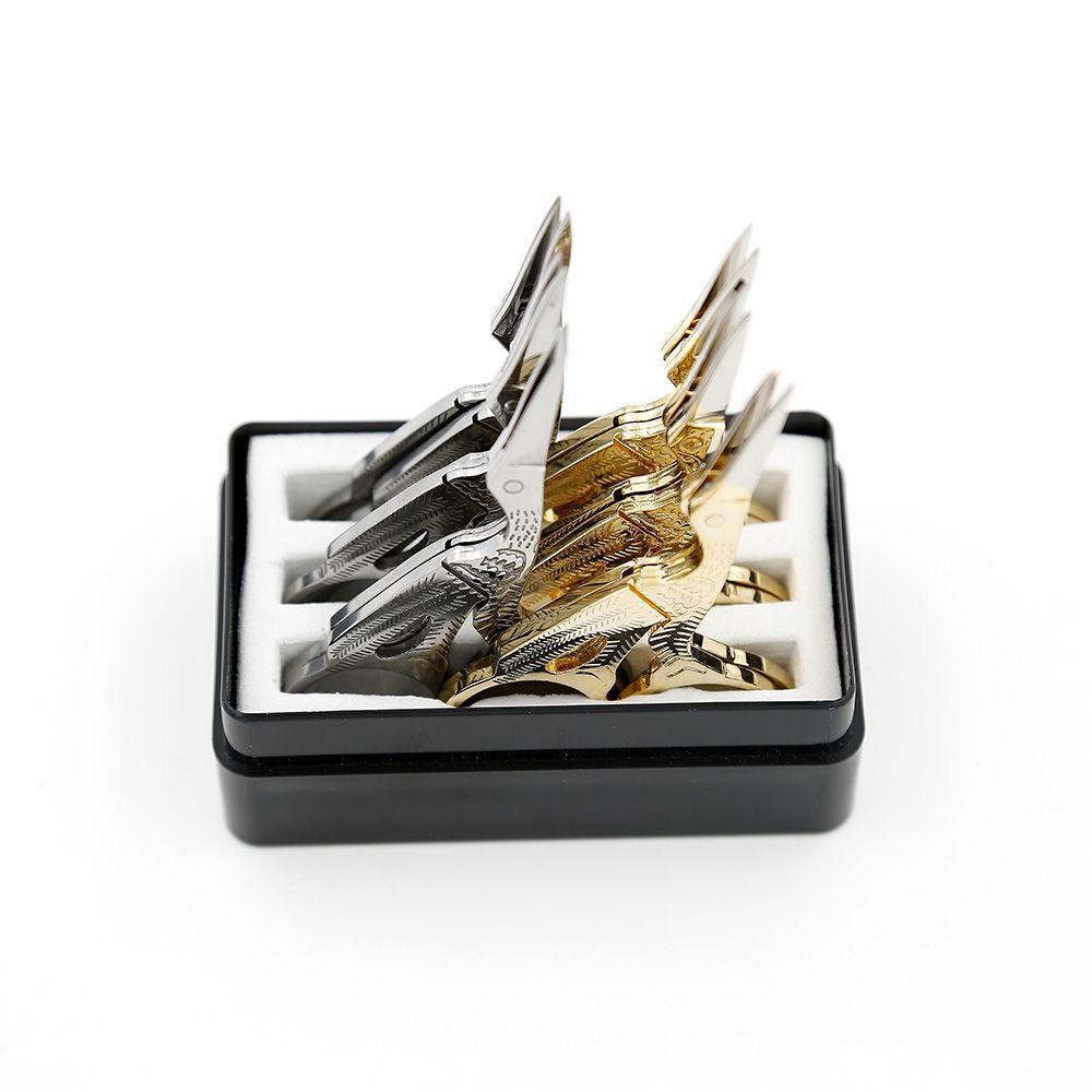 작은 가위 눈썹 12pcs / lot 금속 트리머 미용 도구 크레인 모양 goldsliver 스테인레스 스틸 가위 SC-061