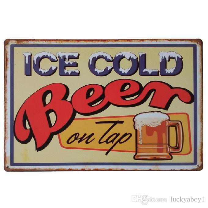 Ice cold beer on tap Vintage Home Decor Retro Tin Sign Rustic Metal Plaque Cool Metal Plate Metal Poster