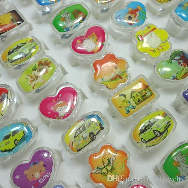 wholesale jewelry ring lots lovely animation cartoon Children Hello Kitty Acrylic Lucite Resin Rings free shipping RL525