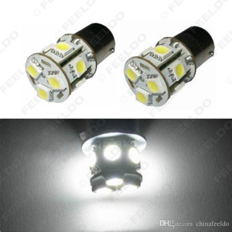2 개 화이트 12V 1156 BA15S P21W 자동차 LED 빛 13SMD 5050 브레이크 꼬리를 켜고 신호 전구 램프 # 3069