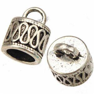 الحبال نهاية قبعات diy سوار معدني حبة قبعات لصنع المجوهرات العتيقة الفضة 7 ملليمتر جولة هول جديد الأزياء والمجوهرات النتائج 11 * 14 ملليمتر 100 قطع