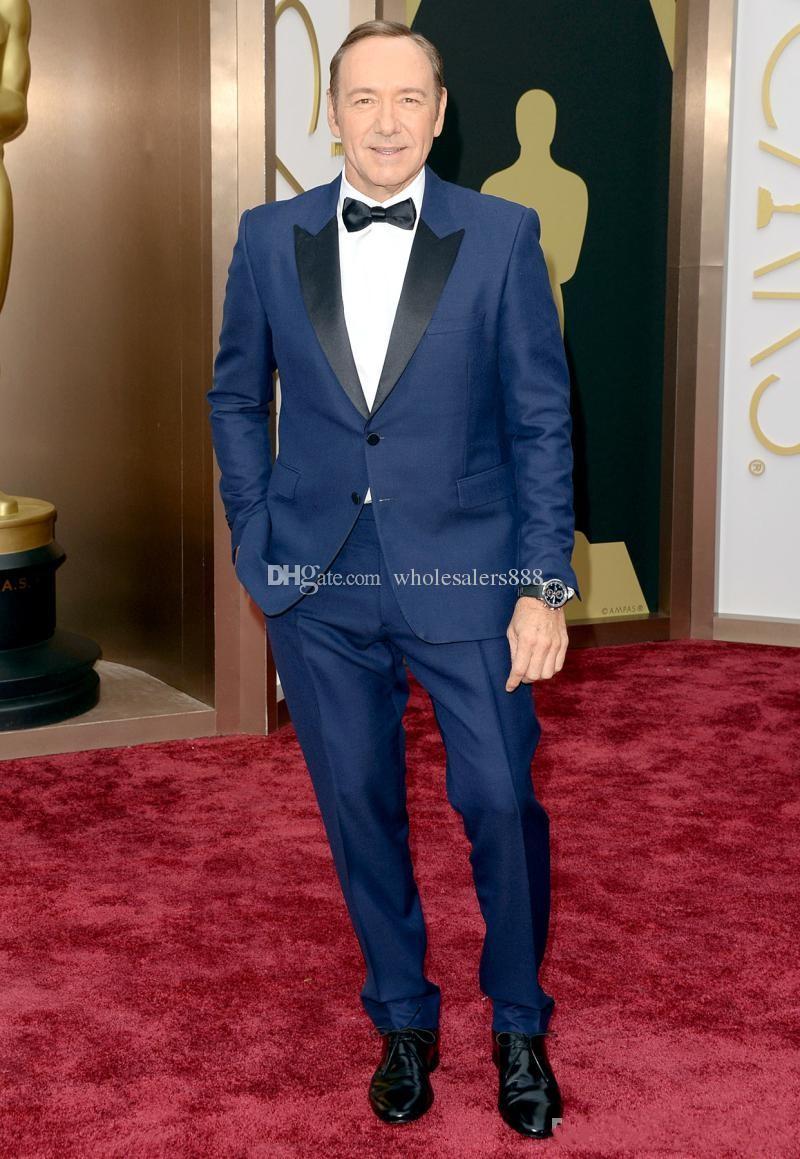 Yeni Stil Iki Düğmeler Damat Smokin Tepe Siyah Yaka erkek Suit Mavi Sağdıç / En İyi Adam Düğün / Akşam Suit (Ceket + Pantolon + Kravat + Kuşak) J924