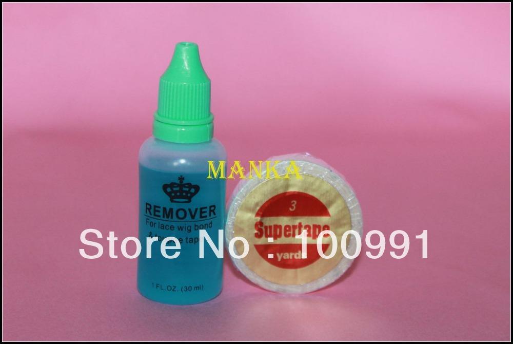 皮のテープの髪のための1ピース3ヤードスーパーテープと1本のボトル30mlの接着剤除去