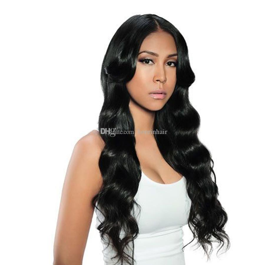 Full Lace Human Hair Wig Wavy Malaysian Virgin Hair Natural Wave Pre-plucked Hairline Lace Front Wig With Baby Hair Glueless Bleached Knots