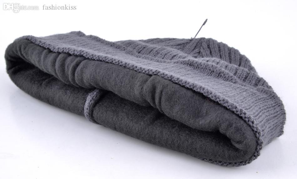 Atacado-2015 Skullies inverno balaclava mens designer chapéu máscara de esqui malha gorro de lã homens gorro mais grossa de veludo chapéus para homens turbante