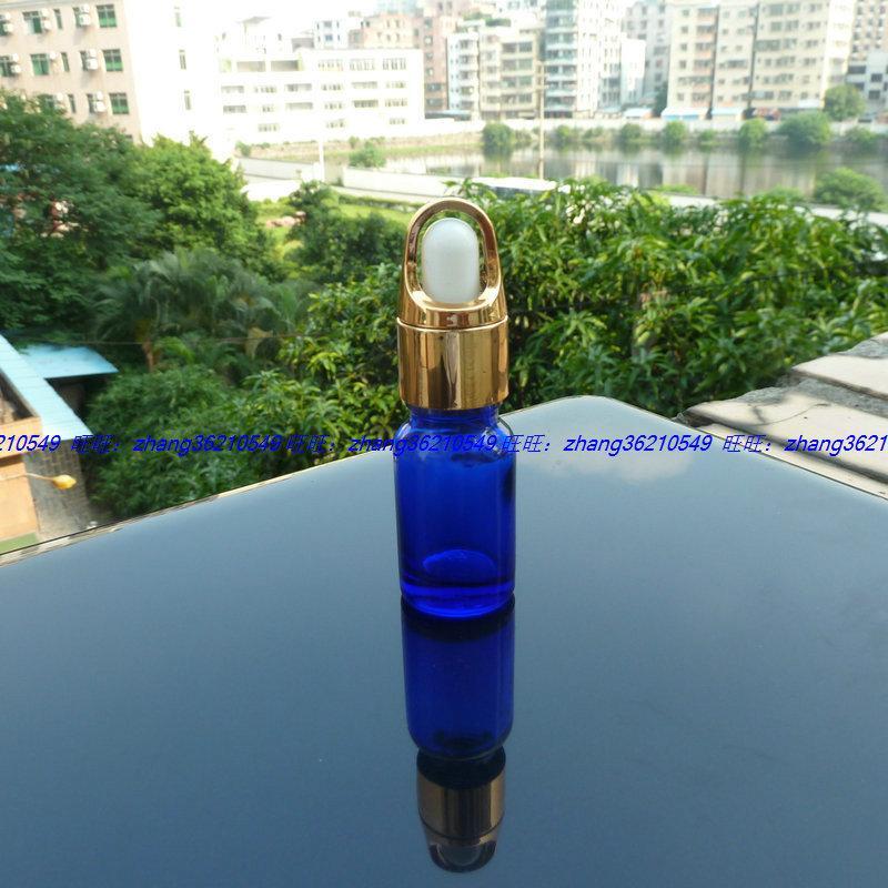 파란색 유리 에센셜 오일 병 10ml 알루미늄 바구니 빛나는 골드 dropper cap. 에센셜 오일 용기