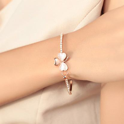 New Fashion Jewelry Brand Design Sweet Gold Plated Clover Opal Charm Bracelet Exquisite Bracelets Bangle For Women Ladies Little Gift