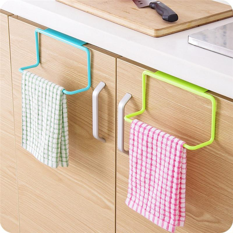 Wholesale- Bathroom Towel Rack Hanging Holder Organizer Bathroom Kitchen Cabinet Cupboard Hanger door back stuck rack drop shipping