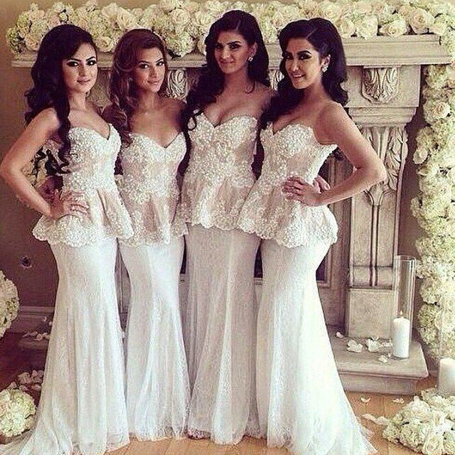 Ivory Mermaid Bridesmaid Dress Sweetheart Lace Long Floor Length Party Sleeveless Garden Spring Wedding Guest Formal Dresses 2018 From