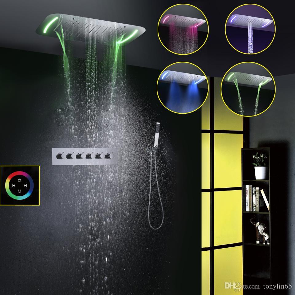 현대 스타일 71X43 CM 대형 터치 패널 LED 샤워 헤드 스프레이 버블 폭포 Rainfall 욕실 샤워 꼭지 세트