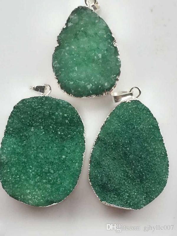 Hi-Q HOT 6 pcs de Prata banhado a cor Verde Natureza Quartz Druzy Geode pingente, Drusy Cristal Gem pedra conector Beads, resultados de jóias