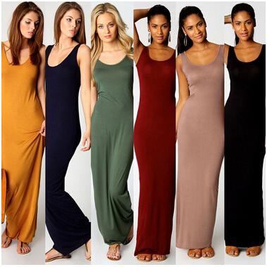 Mujeres largo vestido de verano más del tamaño del traje sin mangas atractivo del partido del vestido del tanque de 2016 mujeres vestidos largos maxis Vestidos