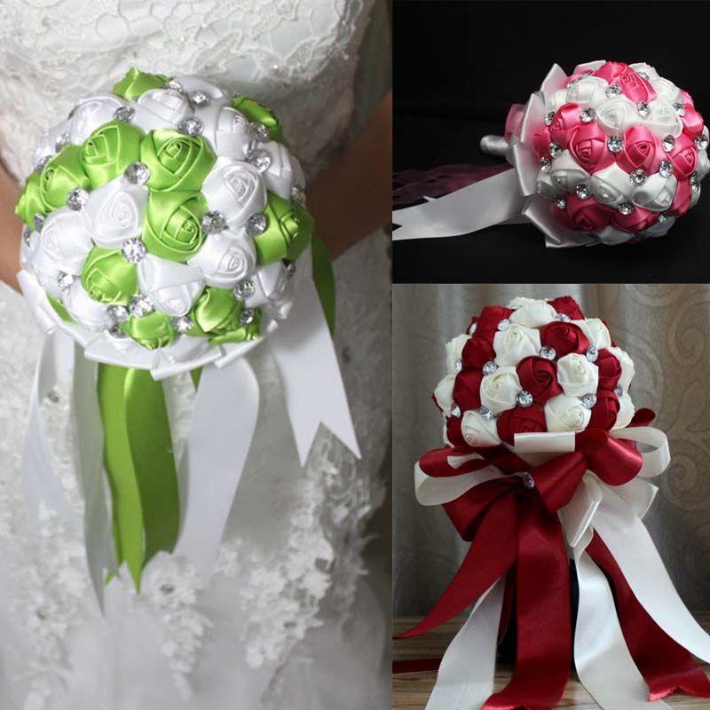 Kolory 2015 Wedding Bridal Bukiet Dekoracje ślubne Frezowanie / Kryształ Ślub Favors Hand Holding Flower Sztuczny Kwiat Dhyz 01