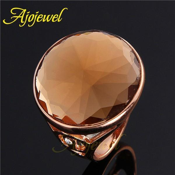 010 Uni Simple Design Single Stone Rings Real 18K Rose Gold Big