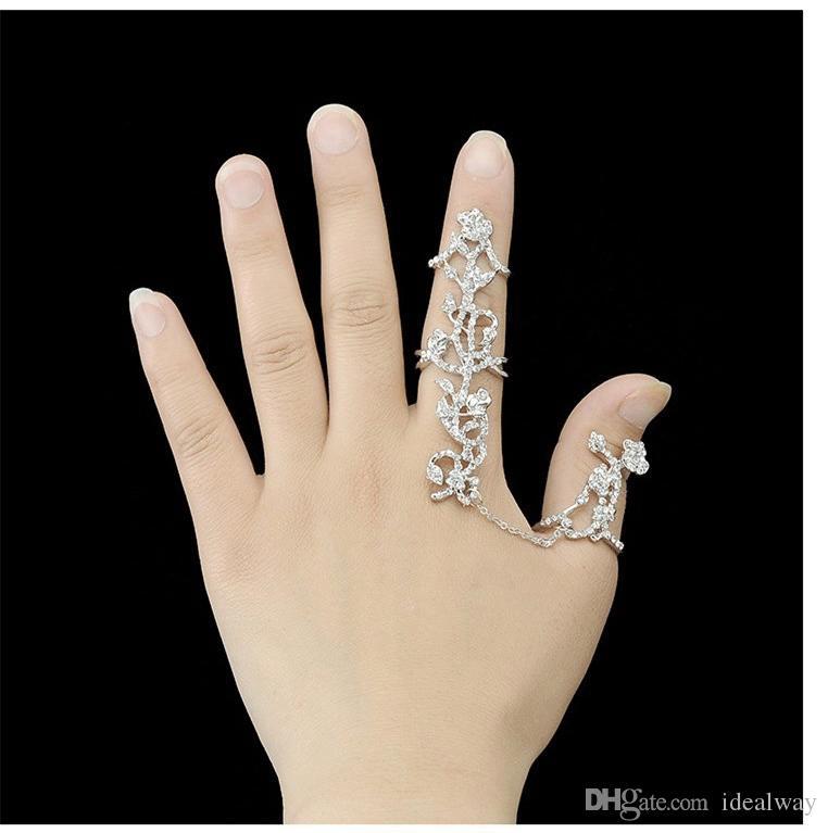 البوهيمي نمط الفضة / مطلية بالذهب حجر الراين أجوف خواتم الاصبع ربط
