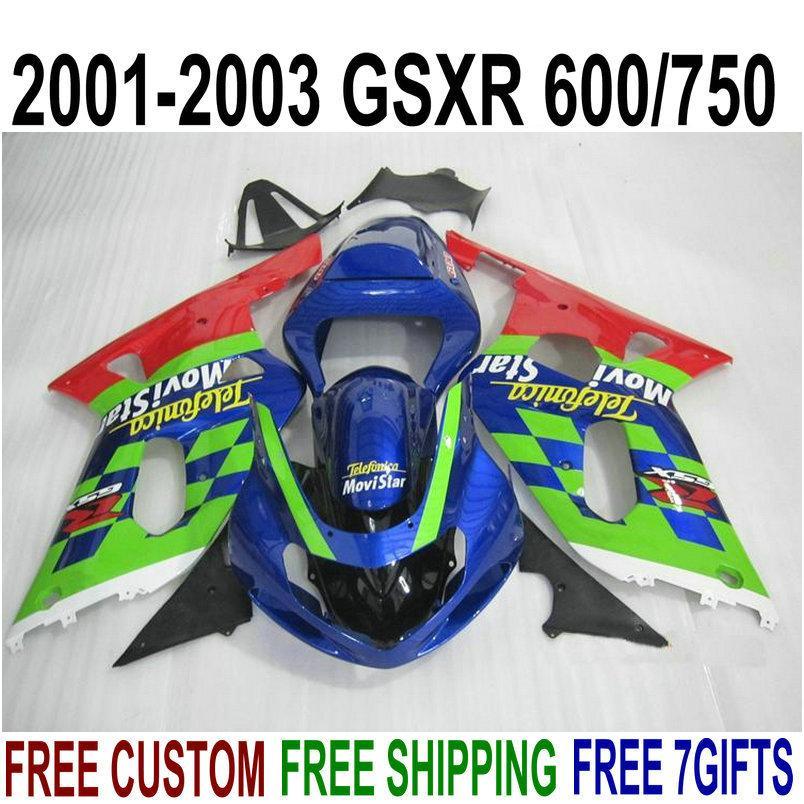 Free shipping fairing kit for SUZUKI GSXR600 GSXR750 2001-2003 K1 GSX-R 600/750 01 02 03 blue green Movistar plastic fairings set XA97