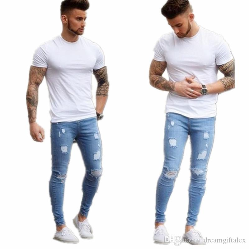2017 new fashion hot sell Men Jeans Stretch Destroyed Ripped Design Fashion Jeans For Male skinny simple denim trousers