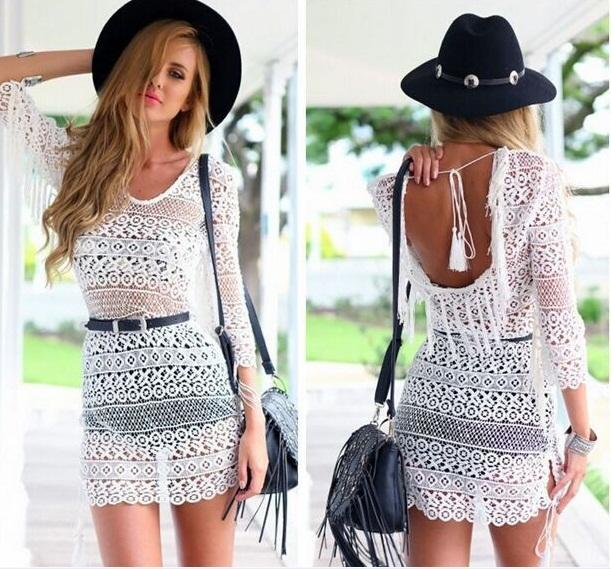 2015 Casual Mini Dresses New Fashion White Long Sleeves See-through Lace Dresses Women Summer Casual Dresses