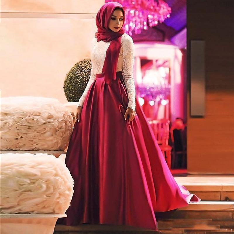 2019 Elegant Muslim A Line Ballkleider Mit Langen Ärmeln Elfenbein Und Roter Spitze Satin Hijab Formale Abendkleid Bodenlangen