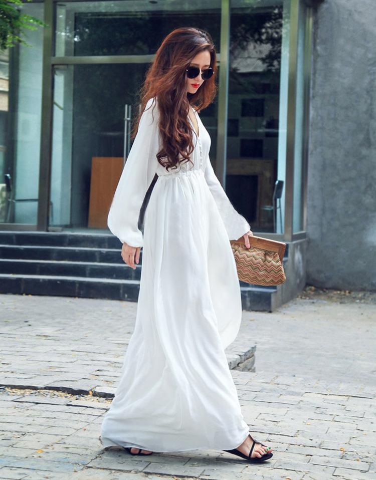 Chiffon white long sleeve maxi dress
