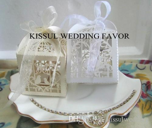 Wedding and Party decoration favors of Love brids Laser cut Wedding favor boxes and candy box with ribbon box for wedding 100pcs/lot